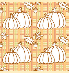 seamless pattern with pumpkins acorns and leaves vector image