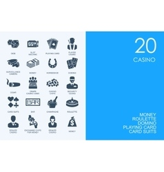 Set of blue hamster library casino icons vector