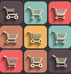 Shoping cart flat icon set on color fade shadow vector
