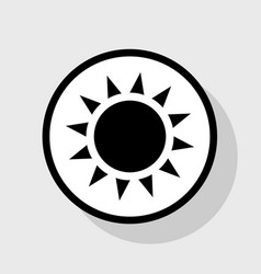 Sun sign flat black icon in vector