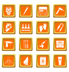 Tattoo parlor icons set orange vector
