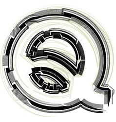 Technological font letter q vector