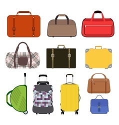 Travel bag icons collection vector image