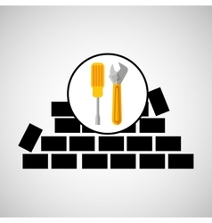 wall brick tools construction design vector image