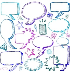 Set of Hand drawn Comical Speech Bubbles vector image