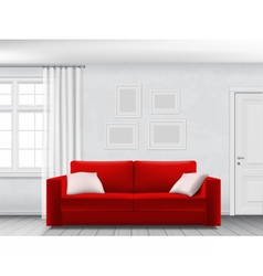 White interior and red sofa vector