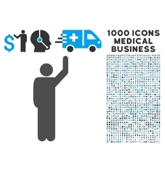 Hitchhike pose icon with 1000 medical business vector