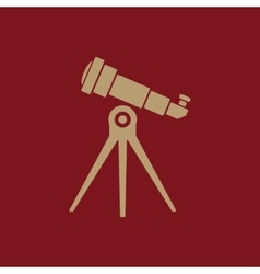 The telescope icon spyglass symbol flat vector