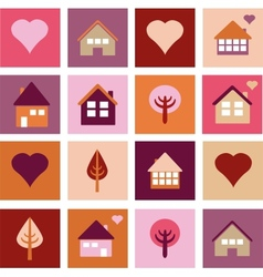 Set of different houses and trees vector