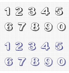 Hand-drawn numbers doodles set 2 sketch vector
