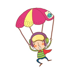 Close-up of boy on parachute vector