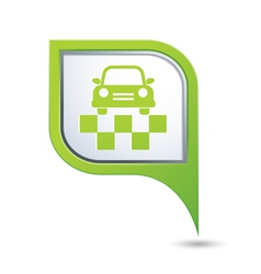 Taxi symbol on green map pointer vector