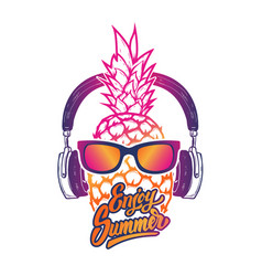 Enjoy summer pineapple with sunglases and vector