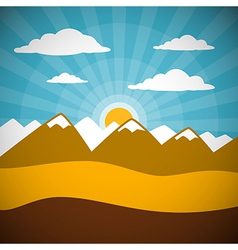 Nature retro mountains with clouds sun blue sky vector
