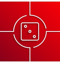 modern white circle icon on red background vector image