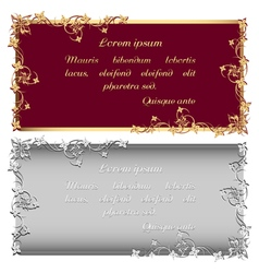 Vintage gold and silver frames for inscription vector