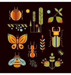 Nature insects and tree icons vector