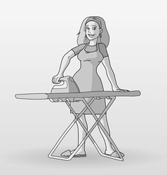 Monochrome housewife vector