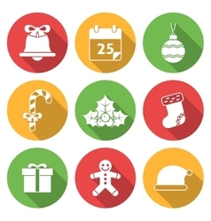 Christmas icons with long shadows vector