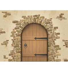 Arch of stone with closed wooden door vector