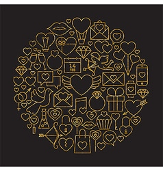 Gold and Black Happy Valentine Day Line Icons Set vector image