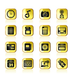 Phone Performance Internet and Office Icons vector image