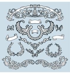 Laurel wreath set decorative elements vector