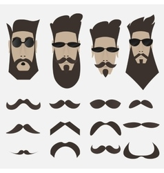 A set of bearded men different shapes of whiskers vector