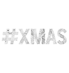 Abbreviation xmas with hashtag for coloring vector