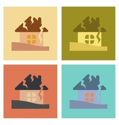 Assembly flat icons nature house crash vector
