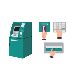 Automated teller machine and hand inserting credit vector