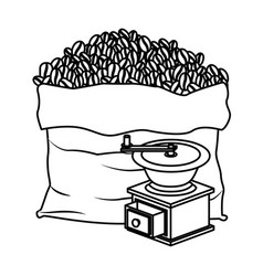 Bag of coffee beans and griding with crank vector
