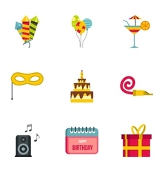 Birthday party icons set flat style vector