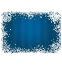 Blue Christmas background with frame of snowflakes vector image vector image
