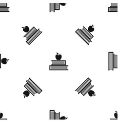 books and apple pattern seamless black vector image vector image