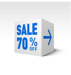 Cube banner template seventy percent off discount vector