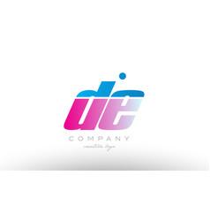 De d e alphabet letter combination pink blue bold vector