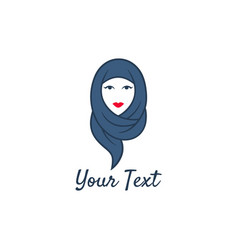 Hijab logo young lovely muslim girl flat design vector