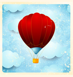 hot air balloon vintage card vector image