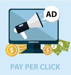 Internet marketing pay per click concept computer vector