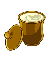 Jug with lid with sour cream vector image vector image