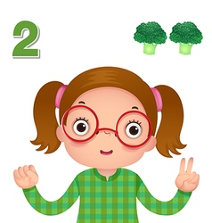 Learn number and counting number two vector image vector image