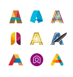 Letter A logo set Color icon templates design vector image vector image
