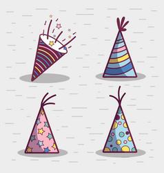 Line set hat happy birthday celebration icon vector