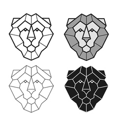 Lion geometric head set vector