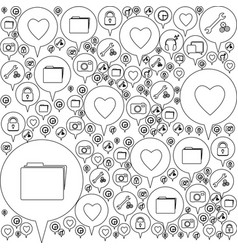 Monochrome pattern formed by dialogue social icons vector