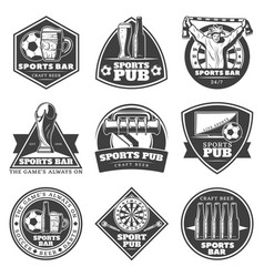 Monochrome vintage sport bar labels set vector