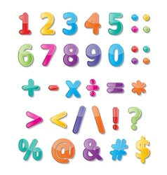 Numbers 0-9 and symbols vector