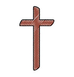 Religious cross wooden icon vector