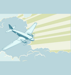 Retro airplane flying in the clouds air travel vector